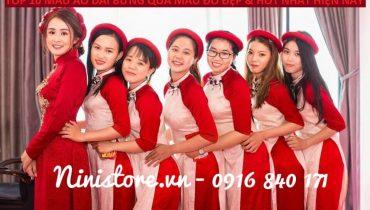 Top 10 mẫu áo dài bưng quả màu Đỏ Đẹp & Hot nhất hiện nay
